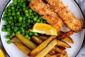 Peas with Piri-Piri fish & chips