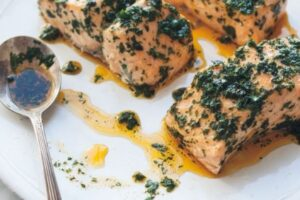 Salmon roast with chermoula