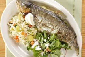 Steamy trout served with dill and mint dressing